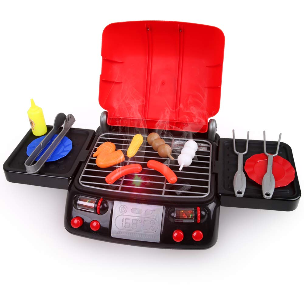 LBLA Pretend Play Food BBQ Playset Kitchen Toys with Light and Smoke Funny Grill Cooking Play Toy for Kids Toddlers by LBLA