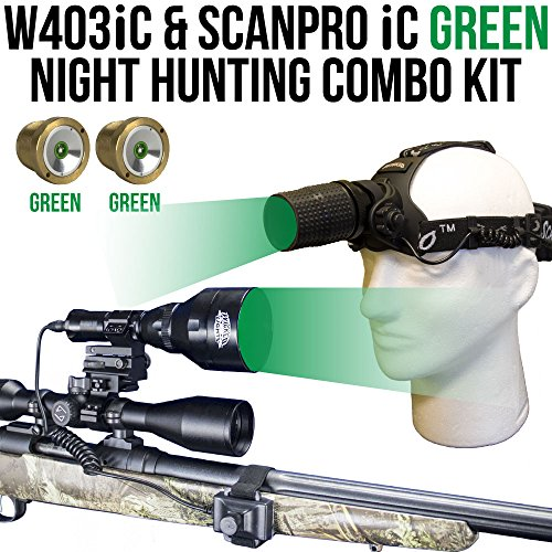 Wicked Lights W403iC & ScanPro iC Green Night Hunting Light and Headlamp Combo Pack for Predator, varmint & Hog Hunting