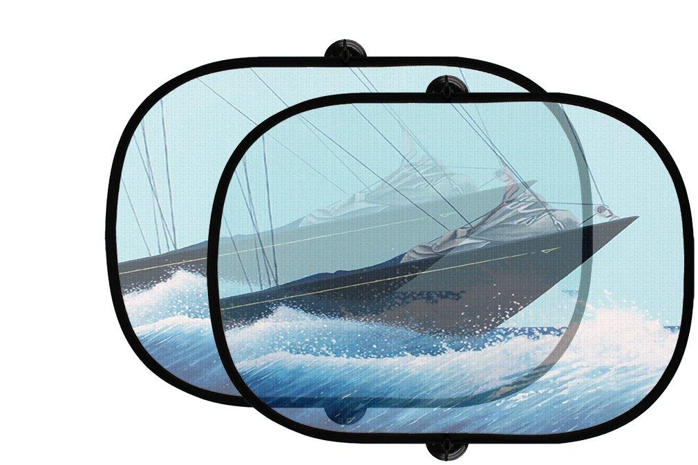 Sailボート水2個折りたたみ式自動ウィンドウサンシェードメッシュ B07593GQBN
