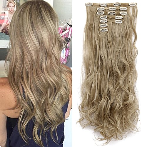 Lelinta 3-5 Days Delivery 7Pcs 16 Clips 24 Inch Wavy Curly Full Head Clip in on Double Weft Hair Extensions, Ash Blonde Mix Bleach Blonde, 24 Inch-160g