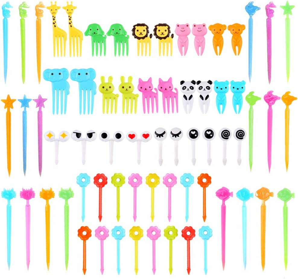66 Pcs Animal Food Picks for Kids, Mini Bento Picks, Cute Cartoon Animal Fruit Food Toothpicks, Lunch Bento Box Picks Forks