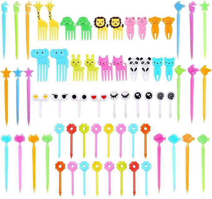 Lankater 6pcs Mini Animal Fork Fruit Picks Cute Cartoon Cat Children Fork Bento Decor Accessories Black Color