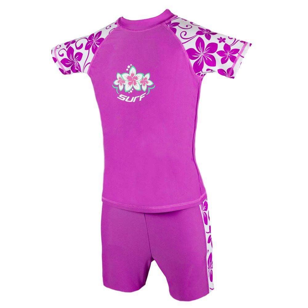 Girls Radiant Orchid UV Sun Protection Rash Vest and Swim Shorts UPF 50+ Size 3-4/5-6/7-8/9-10/11-12/13-14 Years