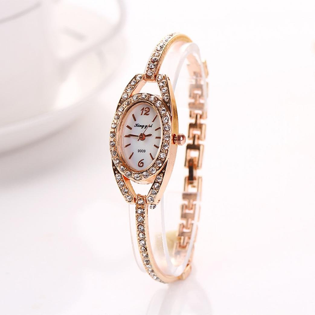 Fashion Women Lady Diamond Bracelet, Ninasill Stainless Steel Crystal Quartz Watch