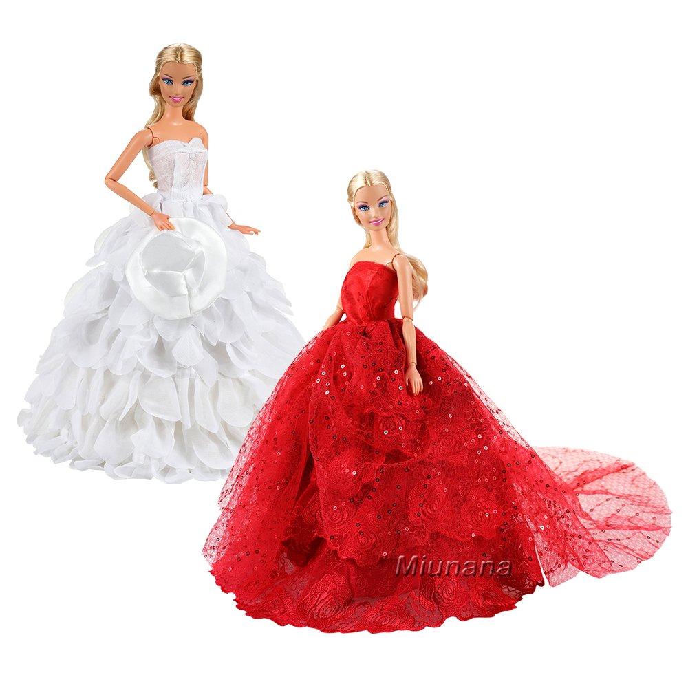 Miunana 2 Abiti Vestiti Da Sposa Lunghi Per 30CM Principessa Bambola ... 941320ad7da