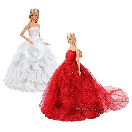 online retailer cc441 51e3c Miunana 2 Abiti Vestiti da Sposa Grandi per Barbie Dolls: Cappello E Buddle  Vestito per Bambola Barbie - Bianco + Vestito di Lusso Lungo con ...