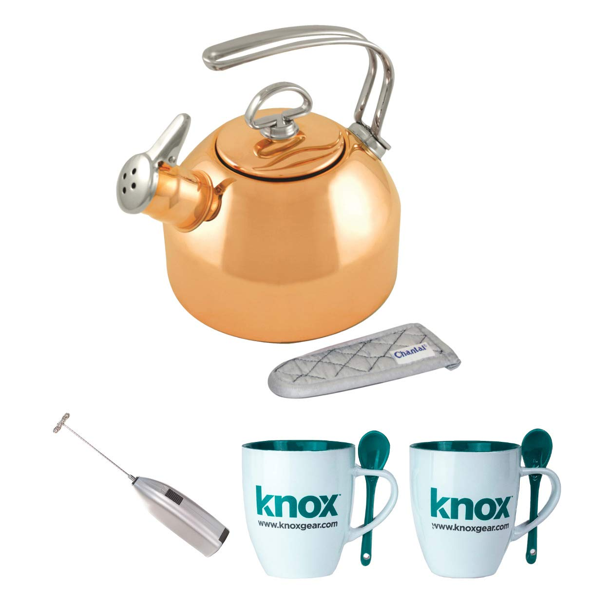 Chantal Copper Classic Teakettle-1.8 Quart Includes Milk Frother and 2 Mugs Bundle