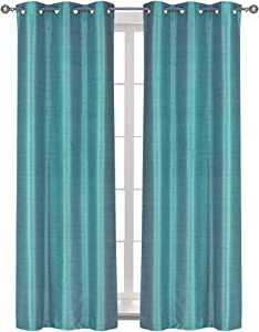 "Home Queen Solid Grommet Blackout Curtain Drapes for Livingroom, Thermal Insulated Light Blocking Curtains for Bedroom,94CM X 241CM (37"" Wide X 95"" Long), 2 PCS, Aqua"