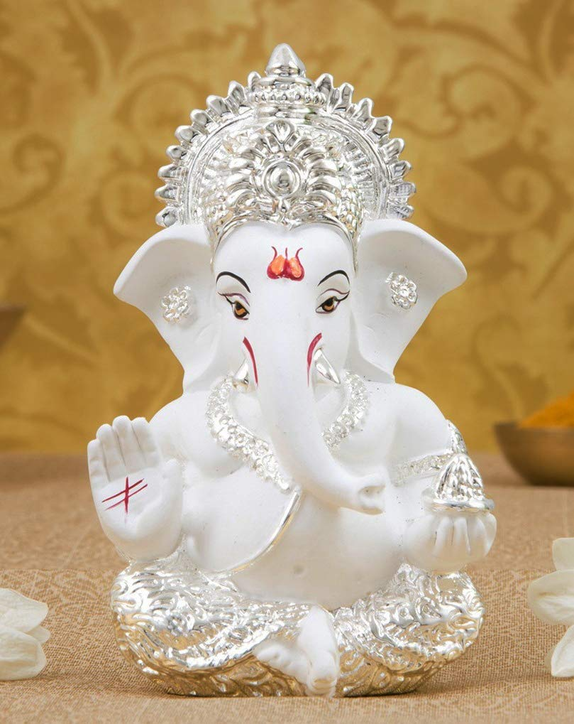 Buy Gold Art India Silver Plated Terracotta Ganesh Idol White