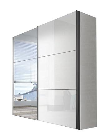 Express Möbel Kleiderschrank Weiß Hochglanz Lack 225 cm mit Spiegel ...