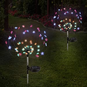 Epicgadget [2 Pack] Solar Star Firework Tree Light, LED Outdoor Star Firework Stakes Solar Garden Decorative Lights for Walkway Pathway Backyard Christmas Decoration Parties (Multi - Color)