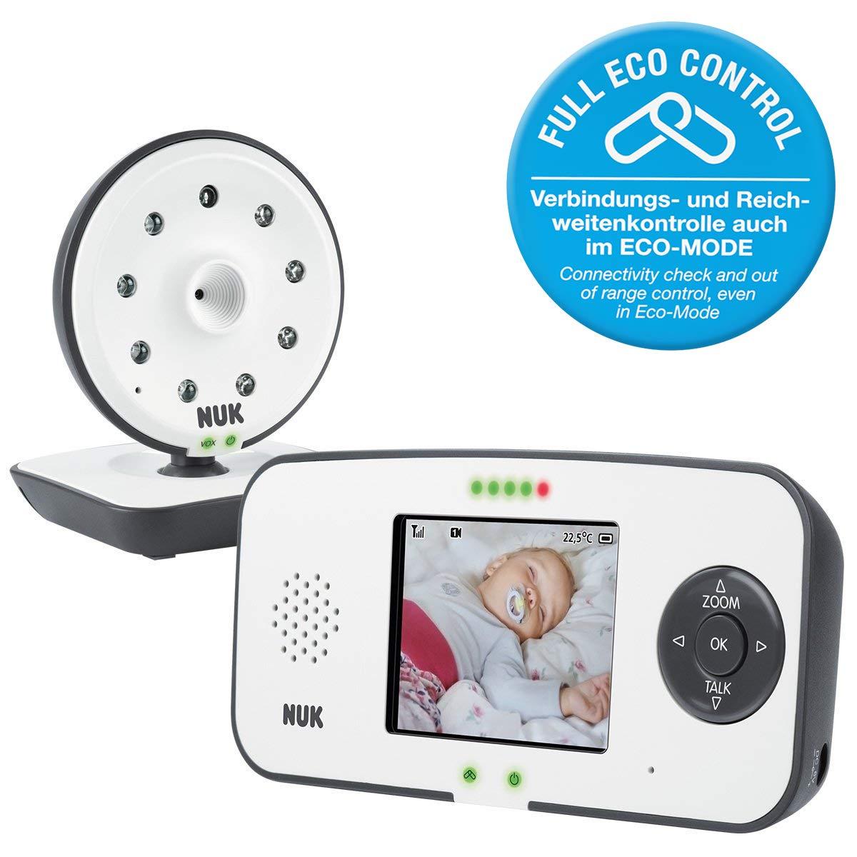 frei von hochfrequenter Strahlung im Eco-Mode mit Kamera und Video Display NUK Eco Control 550VD Digitales Babyphone bis zu 4 Kameras hinzuf/ügbar