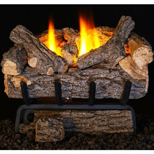 Peterson Real Fyre 20-inch Valley Oak Log Set With Vent-free Natural Gas Ansi Certified 20,000 Btu G8 Burner – Basic On/Off Remote For Sale