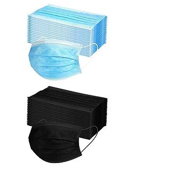 PPangUDing 50 St/ück 3-lagig Staubschutz mit Ohrschlaufen Unisex bequem atmungsaktiv Staubdicht Mundschutz Bandana Blau, 50PCS