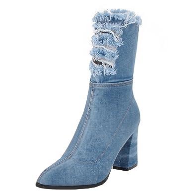 f0a357f4437 YE Femme Botte Mi-Mollet Bottine en Jean Bout Pointu Chaussure Femme Denim  Hiver Talons Haute Bloc Chunky Heels Zip Chaude  Amazon.fr  Chaussures et  Sacs