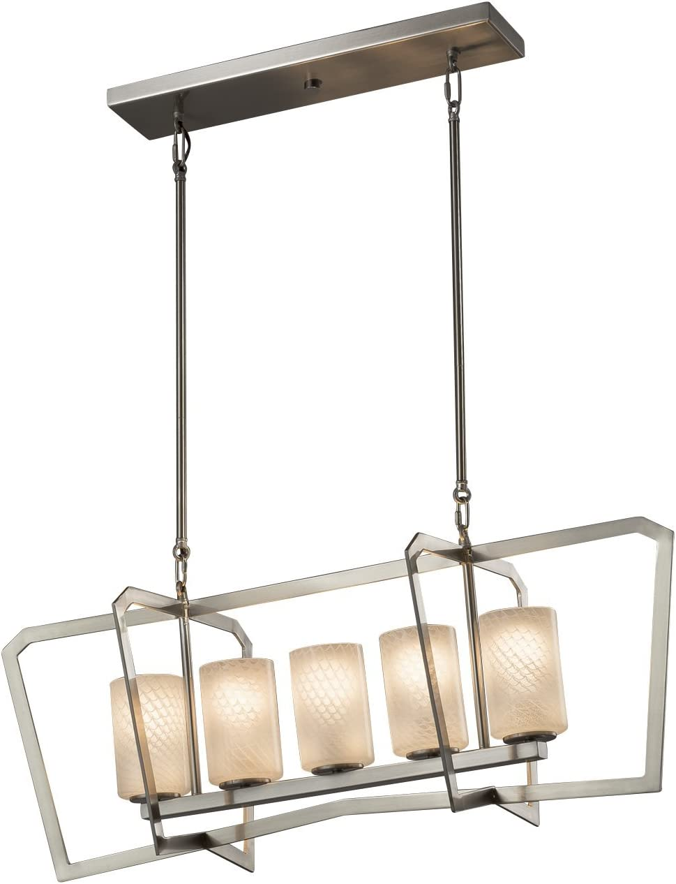 Artisan Glass Shade in Weave Aria 1-Light Intersecting Chandelier Fusion Brushed Nickel Finish