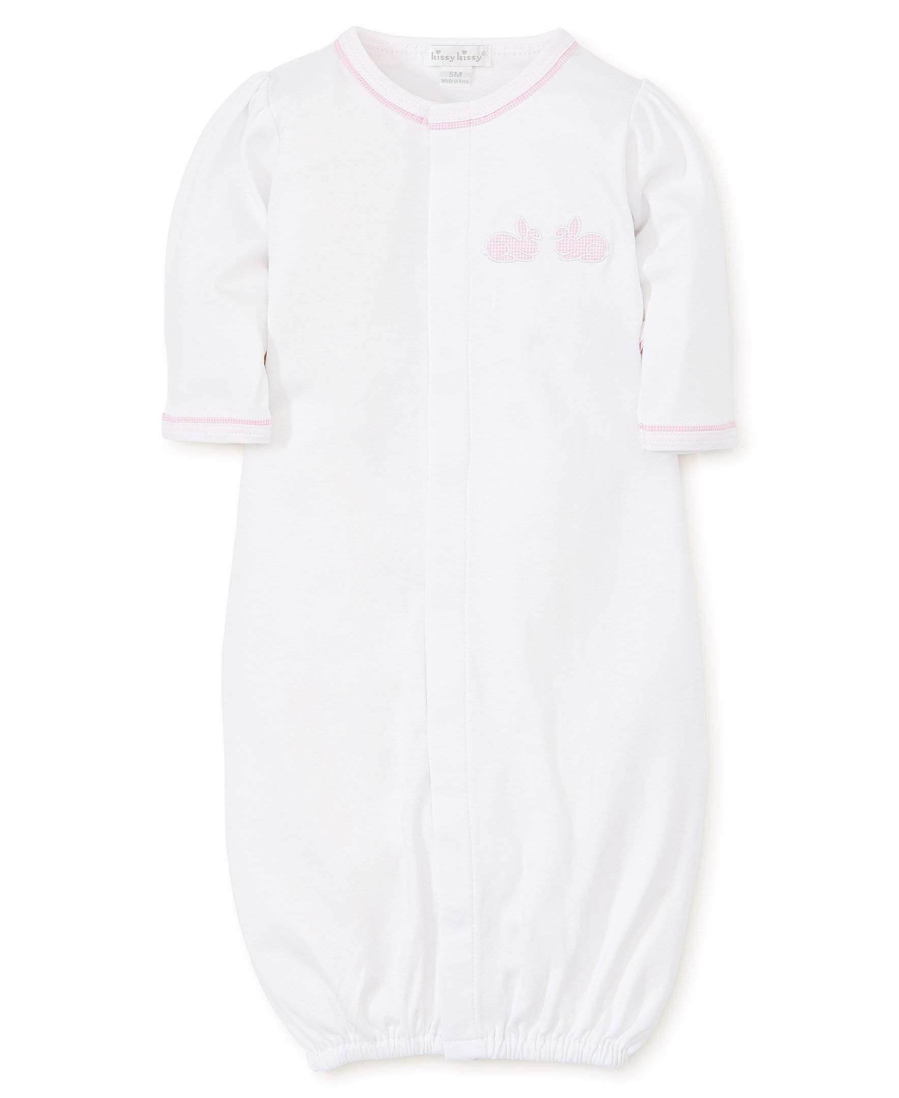 Kissy Kissy Baby-Girls Infant Pique Bunny Hop White with Pink Convertible Gown-White with Pink-Small by Kissy Kissy