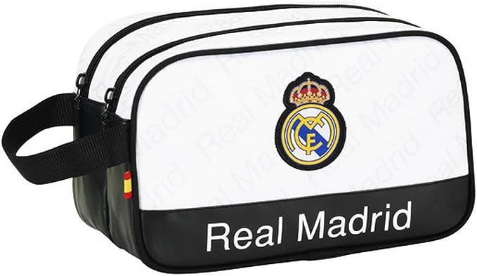 Real Madrid FC - Estuche de lapices y bolígrafos oficial con asa con el escudo del Real Madrid FC para niños (Talla Única/Blanco/Negro): Amazon.es: Ropa y accesorios