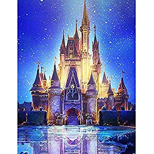 ACANDYL Paint by Number Castle DIY Oil Painting Paint by Number Kit for Kids Adults Students Beginner DIY Canvas Painting by Numbers Acrylic Oil Painting Home Decoration Castle 16×20 Inch