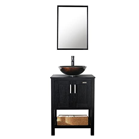 Eclife 24u0027u0027 Modern Bathroom Vanity Cabinet Combo Round Glass Vessel Sink  Combo 1.5 GPM