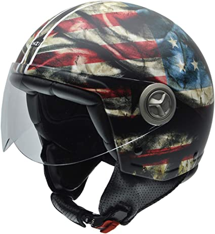 Amazon.es: NZI Zeta Peace Casco de Moto, Bandera Americana, L