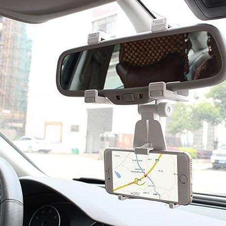 Generic Verstellbar Auto Handyhalterung Auf Rückspiegel Gps Halter Telefonhalter Universal Kfz Halterung Für Smartphones Weiß Auto