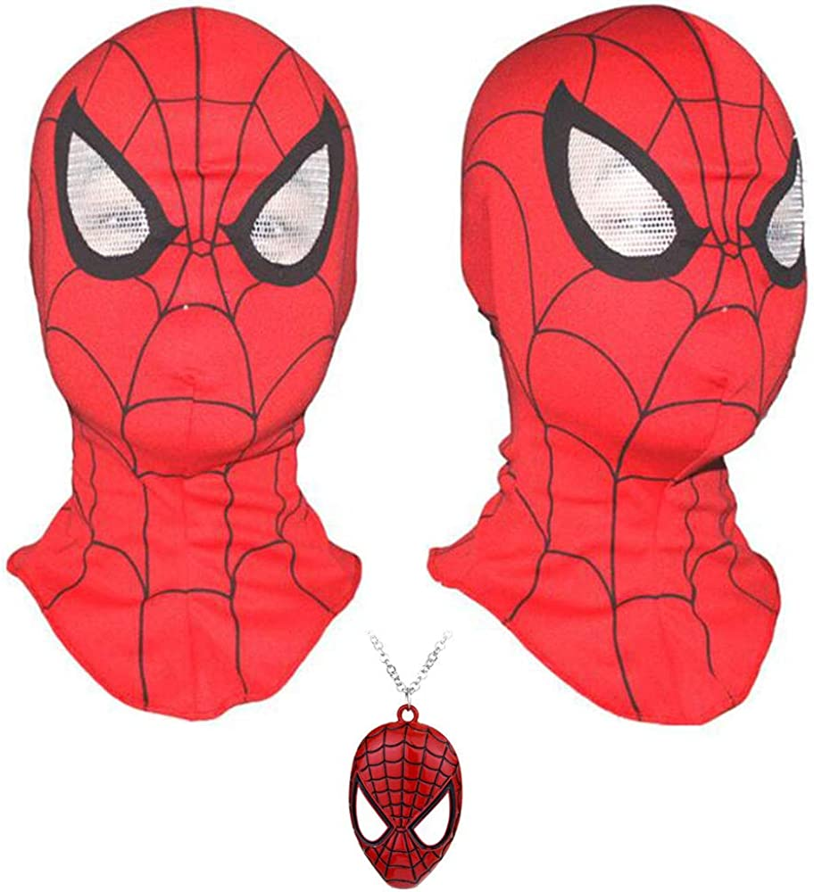 Imcneal Spider Man Mask Adult Full Head Halloween Cosplay Masks Hood Masks Animal Costumes with Necklace