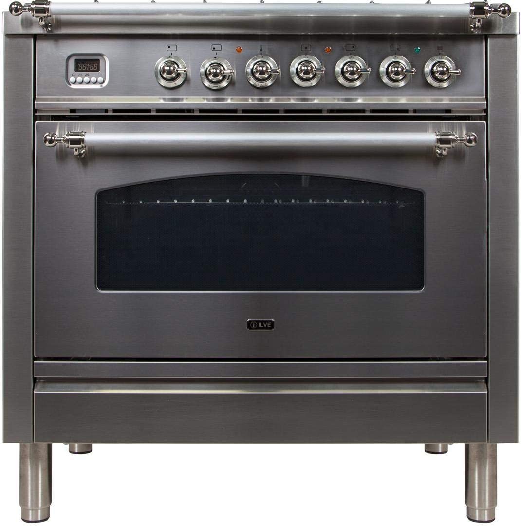 Ilve UPN90FDMPIXLP Nostalgie Series 36 Inch Dual Fuel Convection Freestanding Range, 5 Sealed Brass Burners, 3.55 cu.ft. Total Oven Capacity in Stainless Steel, Chrome Trim (Liquid Propane)