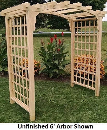 (Backyard Crafts Amish-Made Cambridge Style Pine Arbor - 6' Wide Walkthrough, Natural Stain)