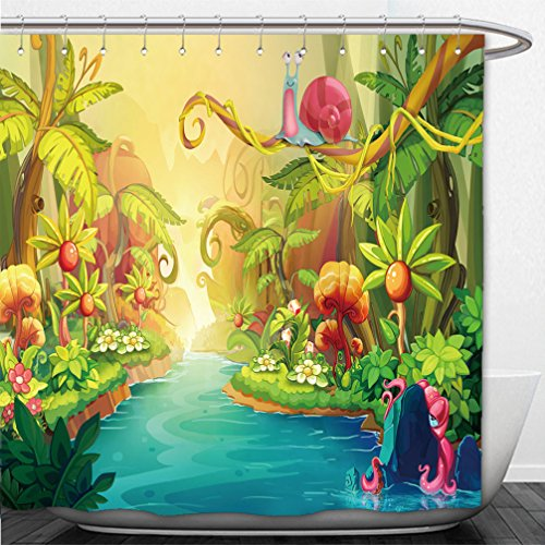 Interestlee Shower Curtain Creative Illustration and Innovative Art Fairy River with Snail Realistic Fantastic Cartoon Style Artwork Scene Wallpaper Story Background Card Design 265326470