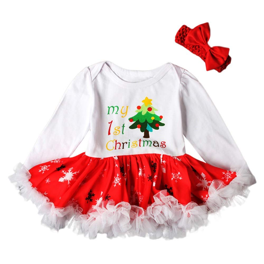 Kobay Christmas Baby Girls Dress, Toddler Newborn Letter Princess Tutu Dresses Christmas Tree Outfits Set Suit for 0-24 Months Baby