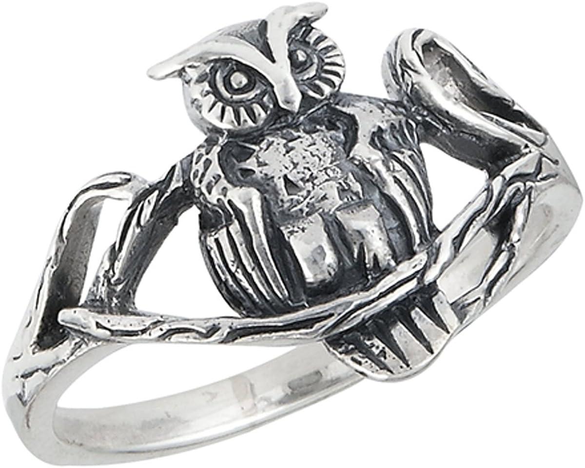 Owl Ring Véritable Argent Sterling 925 Oxydé Bijoux face hauteur 10 mm Taille 10
