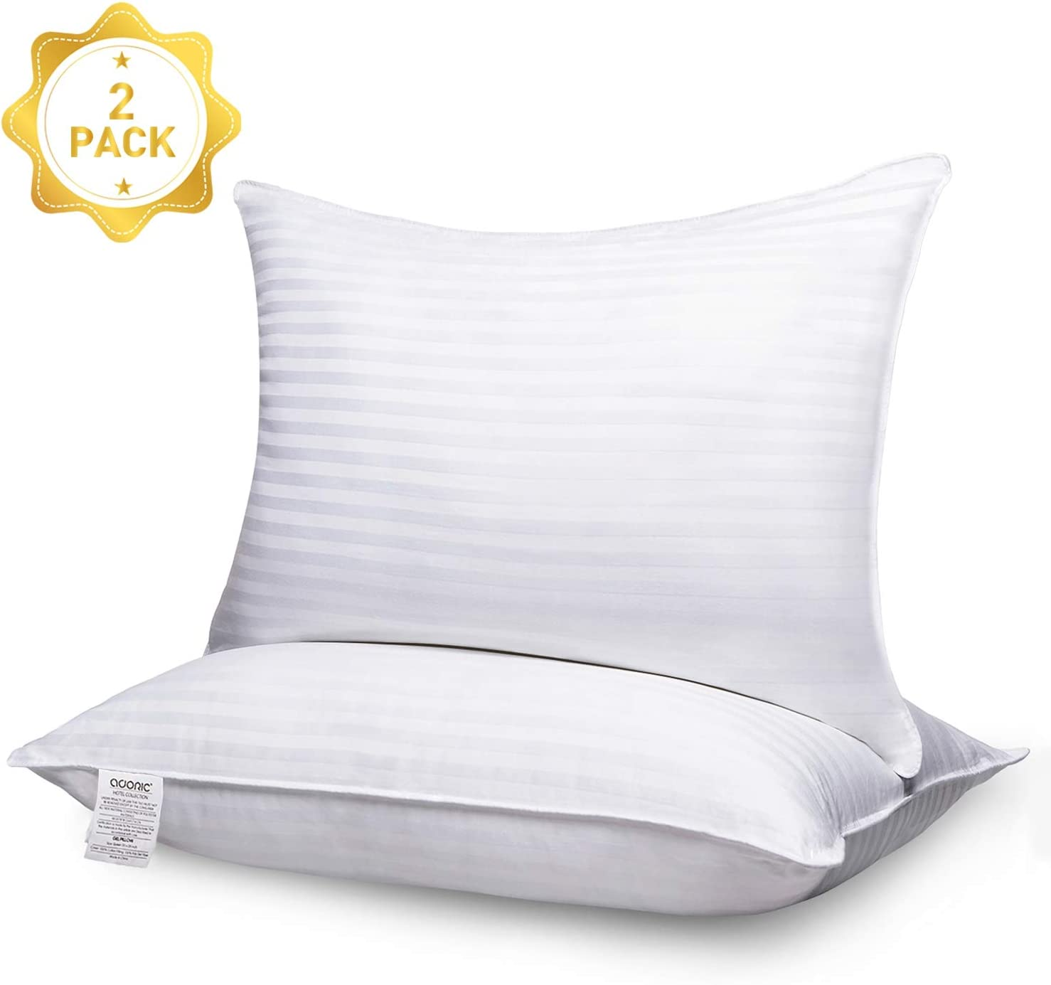 Adoric Pillows for Sleeping, 2 Pack Standard Premium Hotel Bed Pillows, Breathable Cotton Cover Skin-Friendly Down Alternative Pillow Good for Side and Back Sleeper 20 x 26 White