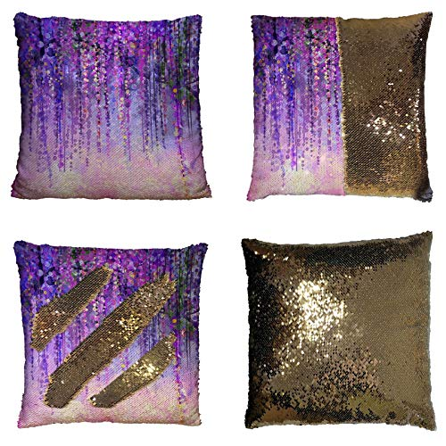 Custom Wisteria Flowers Tree Purple Violet Floral Reversible Mermaid Sequin Pillow Case Home Decor Cushion Cover Size 16x16 inches