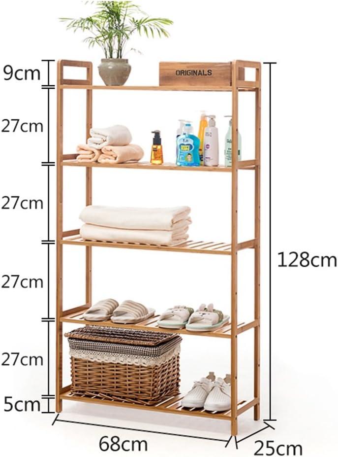 Amazon Com Multilayer Standing Shelf Bathroom Wood Organization Storage Rack Standing Shelving Unit Living Room Bookcase Cube Kitchen Cabinet Bamboo Bookshelf Display Shelves Size 5 Tier Home Kitchen