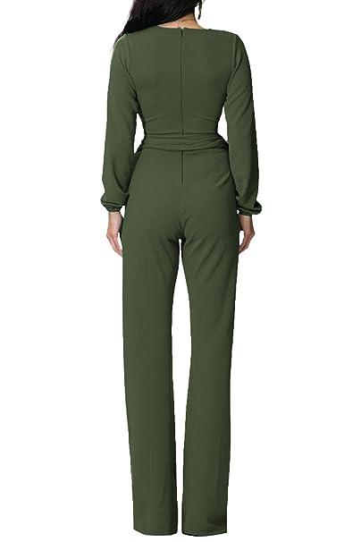 da7640864b8 Amazon.com  YACUN Women s Long Sleeve Culotte Jumpsuit Pencil Pants With  Belt  Clothing