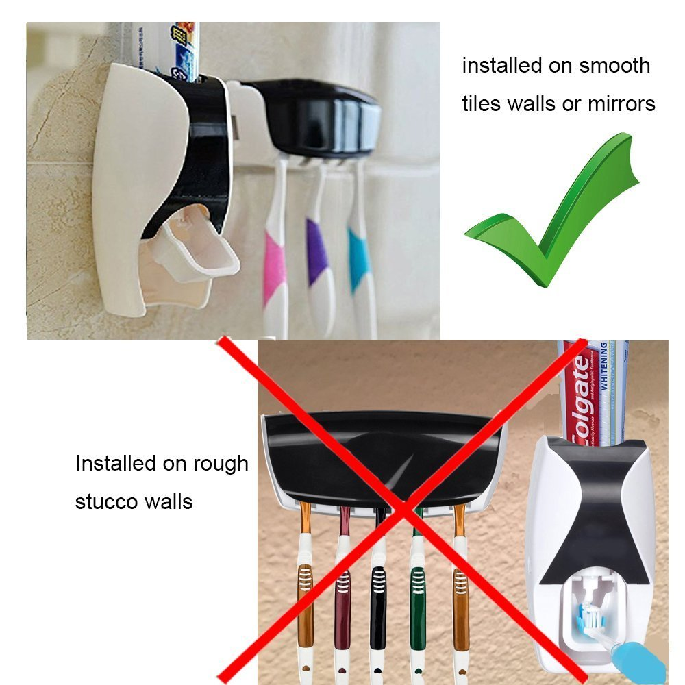 Wikor Toothbrush Holder Set with Cover Wall Mount Stand 6 Set Home Bathroom Toothbrush SpinBrush Suction Holder