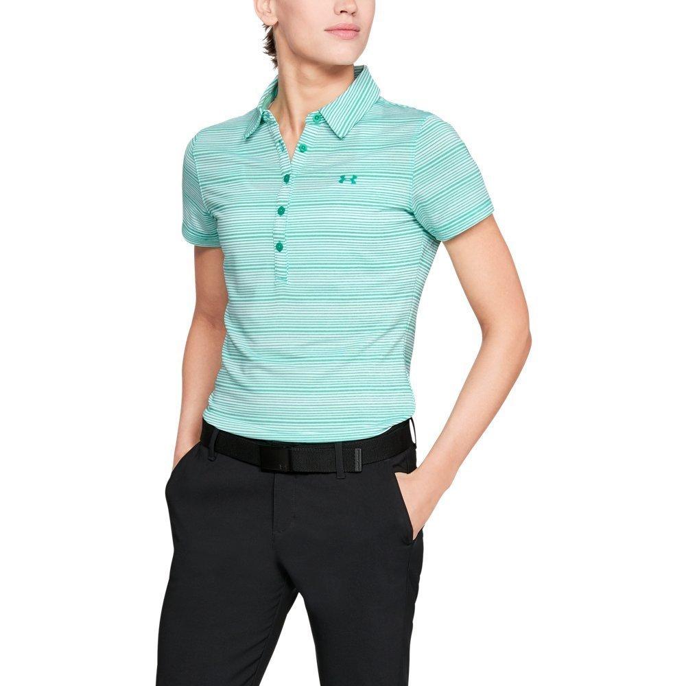 Under Armour Women's Zinger Printed Short Sleeve Polo, Green Malachite (349)/Green Malachite, X-Small
