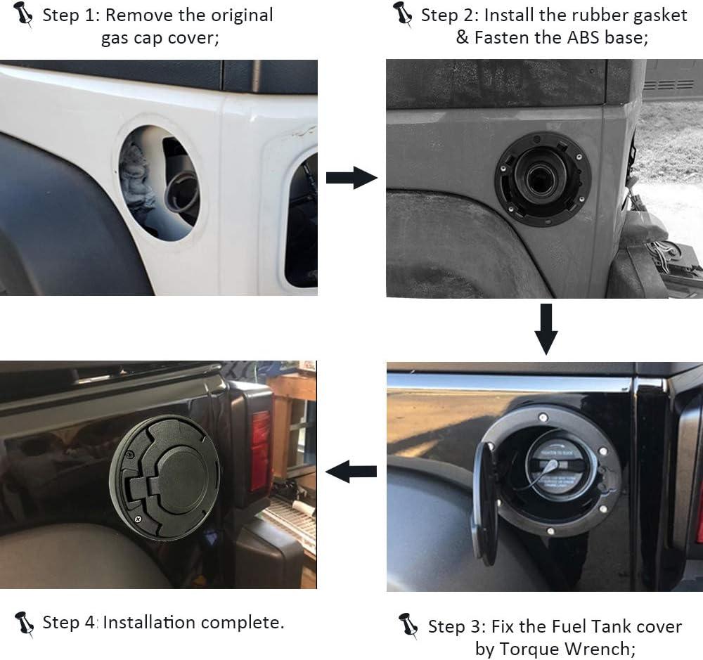 Upgraded Version Locking Gas Cap Semtion Fuel Tank Door for Jeep Wrangler JK JKU Rubicon Sahara Unlimited Willy Sport 2007-2018