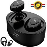 XIAOWU True Wireless Earbuds Bluetooth Earphone Dual V4. 1 Bluetooth Headphones with Built-in Mic and Charging Case Noise Cancelling Stereo Mini Headset for iPhone Samsung iPad Android (black)