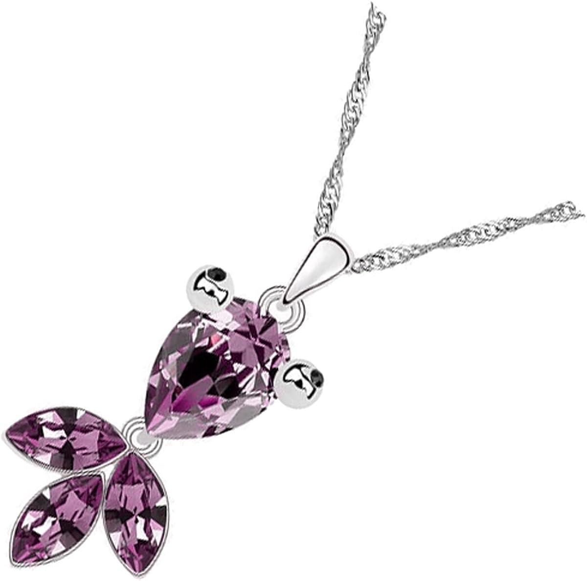 UPCO Jewellery Collar con Pendiente de un Adorable Pez con una Lágrima y Piezas de Cristal Púrpura Amatista, el Color de los Nacidos en el Mes de Febrero, de 38 x 16 MM Bañado en Oro Blanco 18K