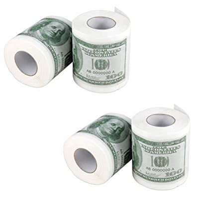 Minch Hundred Fake Money Toilet Paper- Dollar Bill Toilet Paper Roll Bathroom-Novelty Funny Toilet Paper: Toys & Games