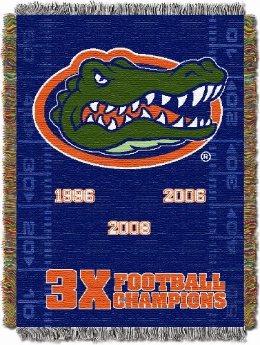 The Northwest Company Officially Licensed NCAA Florida Gators Commemorative Woven Tapestry Throw Blanket, 48