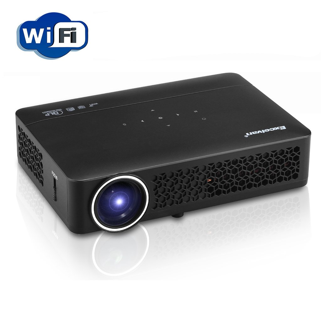 Excelvan DLP Android 4.4 WIFI Bluetooth Mini Full 3D HD Projector Portable 1280x800 Resolution 1080P 3000 Lumens 30000 Hours for Home Theater Education Business