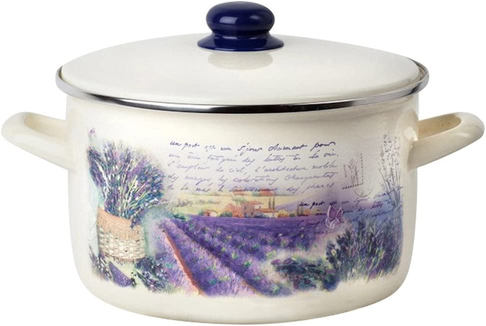 Enamel Stock Pot Lavender Enamel Pot Enamel Cooking Pot Enameled Pot with Lid (2.1-qt. (2 L))