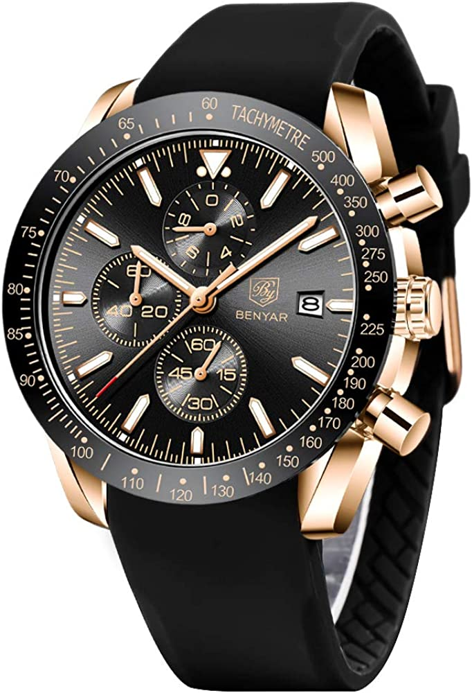 BENYAR Cuarzo cronógrafo Impermeable Relojes Business Casual Deporte Reloj de Pulsera