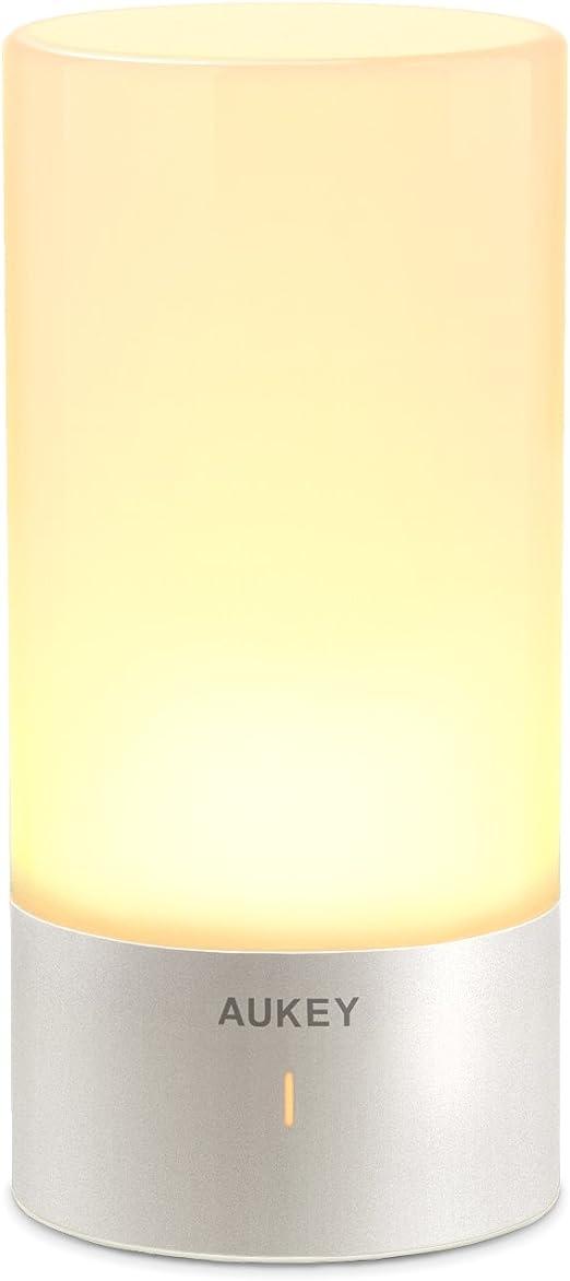 Oferta amazon: AUKEY Lámpara de Mesa, Regulable Lámpara de Noche de Atmósfera con Sensor de Tacto, Lámpara de Tabla de Decoración con Modo RGB y Luz Blanca Caliente, 256 Luces de Color           [Clase de eficiencia energética A]