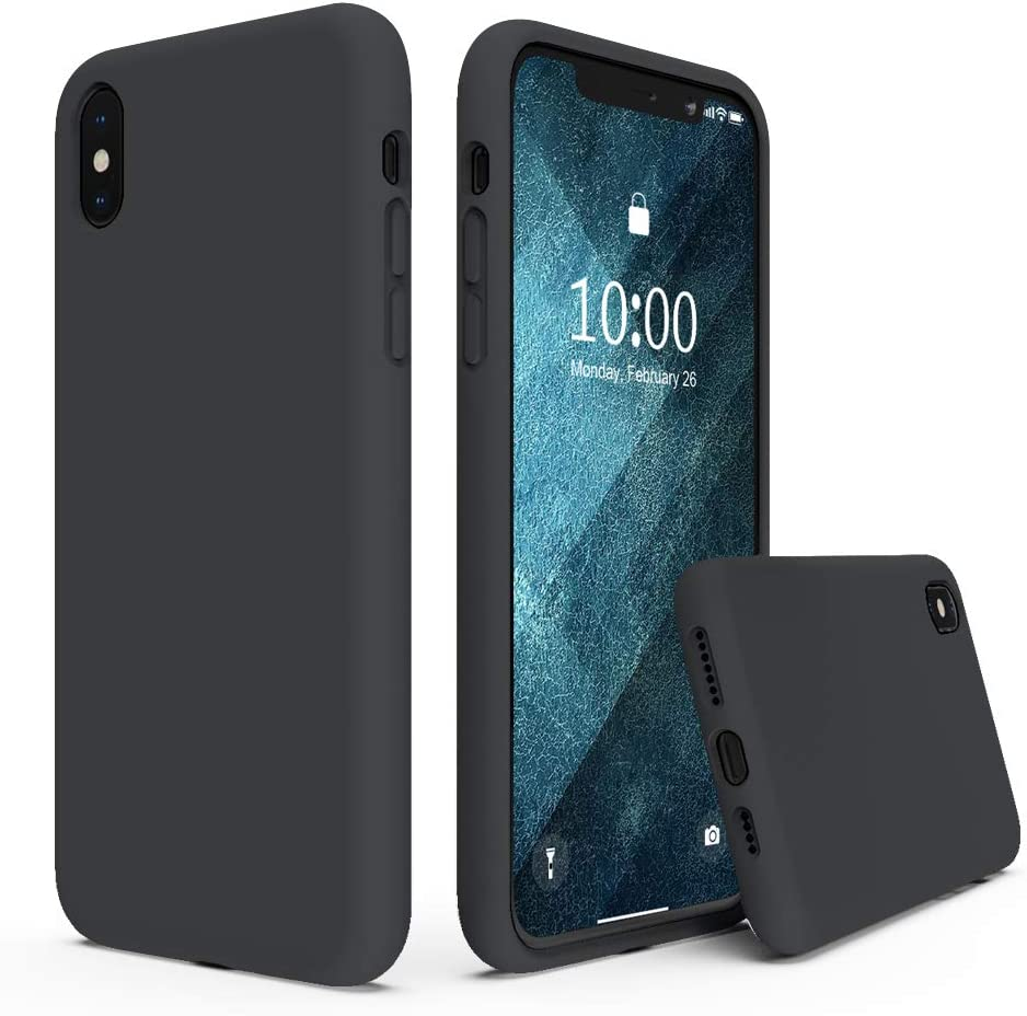 SURPHY Silicone Case Compatible with iPhone Xs Max Case 6.5 inches, Soft Liquid Silicone Shockproof Phone Case (with Microfiber Lining) Compatible with Xs Max (2018) 6.5 inches (Black)