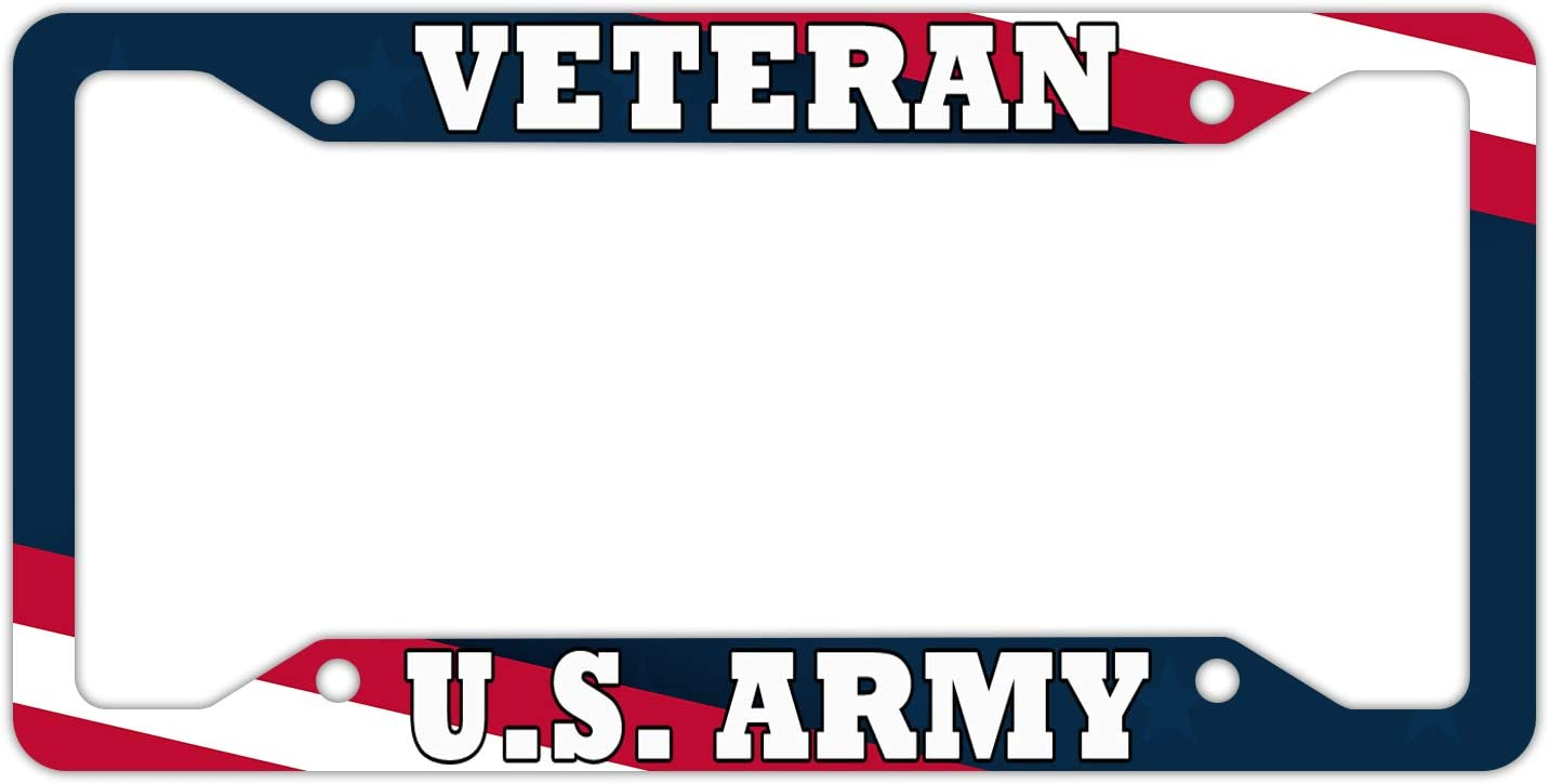 DZGlobal Veteran US Army License Plate Frame Veterans Day Car Plates Frames Blue Red White Flag Auto Decorative Accessories Aluminum Tag with Screw for Women Men Blank
