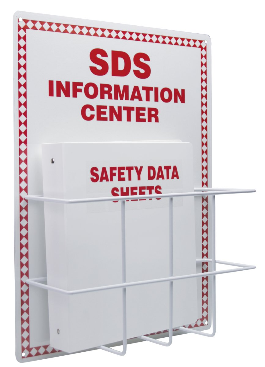 Accuform Signs ZRS407 Basket-Style Aluminum SDS INFORMATION CENTER, 20' Length x 15' Width x 0.063' Thick Backboard with Coated Wire Basket, 1-1/2' SAFETY DATA SHEETS 3-Ring Binder Included, Red on White 1-1/2 SAFETY DATA SHEETS 3-Ring Binder Included